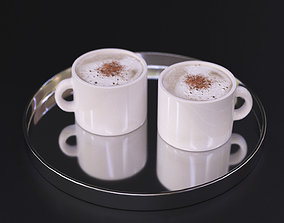 Cappuccino coffee on a chrome tray 3D model