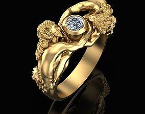 3D print model ring Satyrs and gem