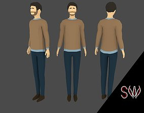 3D asset rigged Low-poly Man Casual Clothes 5