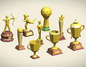 Low Poly Trophy Pack 9 trophies 3D model