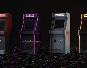 3D model 4 Arcade Machines with Chair - Retro - Game Ready