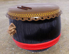 Chinese Lion Drum with Drumsticks 3D model