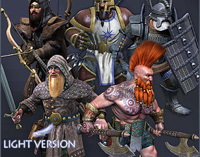 3D asset animated Dwarves Warriors Light Version