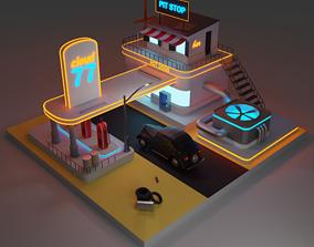 auto refueling in 80s 3D model