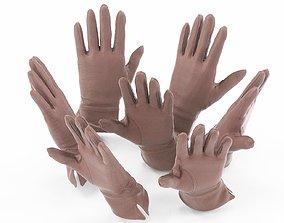 Brown Leather Gloves 3D model