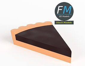 Stylized slice of chocolate tart 3D