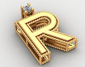 R Letter Roberto Coin Gold Diamond Pendant 3D print model