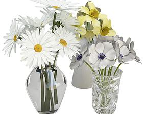 3D Bouquet of Flowers in Vase