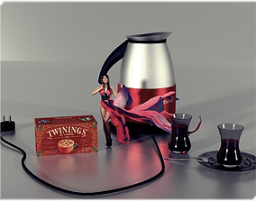 3D model Kettle with Turkish Tea Glasses