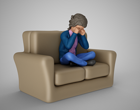 Cute Child Crying on Sofa 3D print model