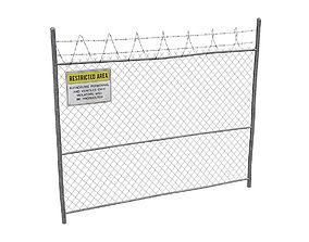 3D asset Damaged Metal Fence with Sign