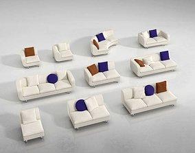 Modern Sectional White Sofa Set 3D model