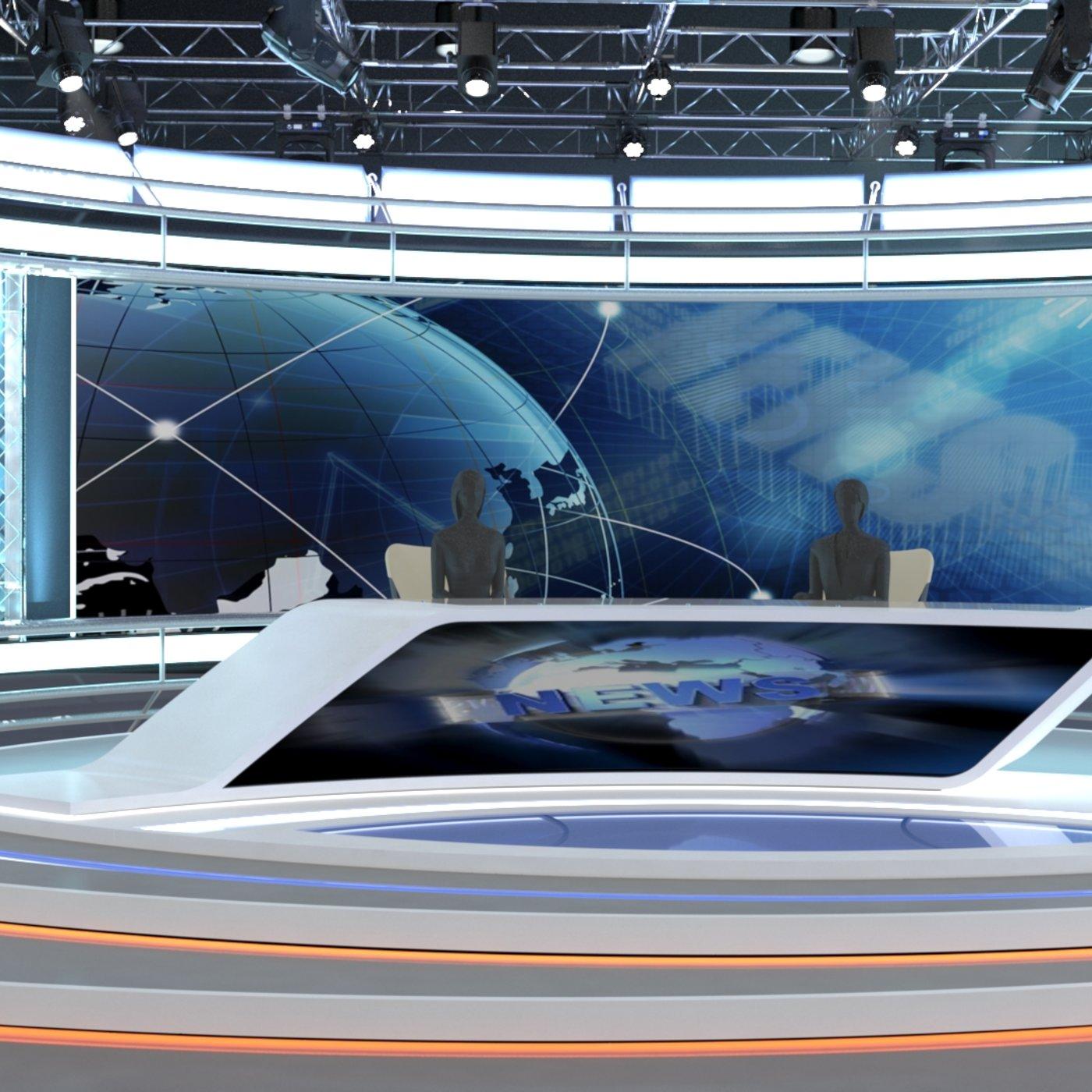 3d Virtual TV Studio News Set 7