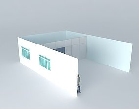 3D model Partition with sliding door and glass