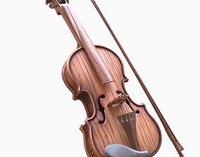 Stylized Wood Violin 3D model