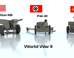 Anti tank guns ww2 3D model