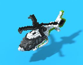 Voxel Helicopter 3D asset