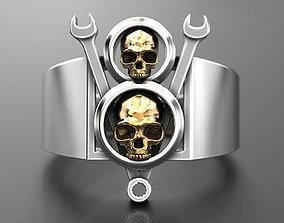 3D printable model Ring V8 Skull