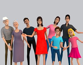 Cartoon Family Rigged 3D rigged