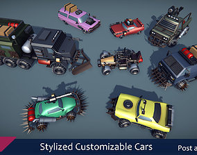 Stylized Customizable Cars post apo v2 3D model