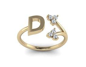 Jewelry Alphabet Ring D with Diamonds 3D printable model