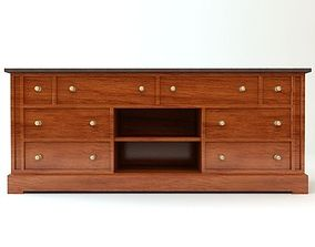 3D Traditional Style Credenza Cabinet
