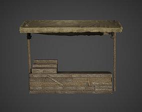 3D model Medieval Old Wood Bazaar Shop Low Poly Game