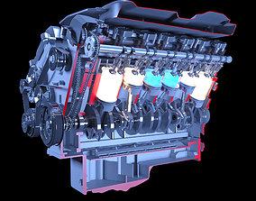 V12 Engine Sectioned Animation Ignition 3D