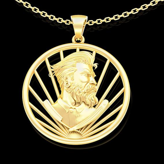 Barbershop Pendant jewelry Gold