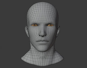 wellmade man head base mesh with highpol head sample 3D