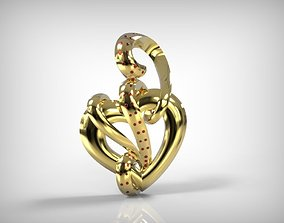 Jewelry Golden Pendant Heart And Snake 3D print model