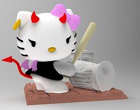 3D printable model Bad Hello Kitty golpeando tachos de