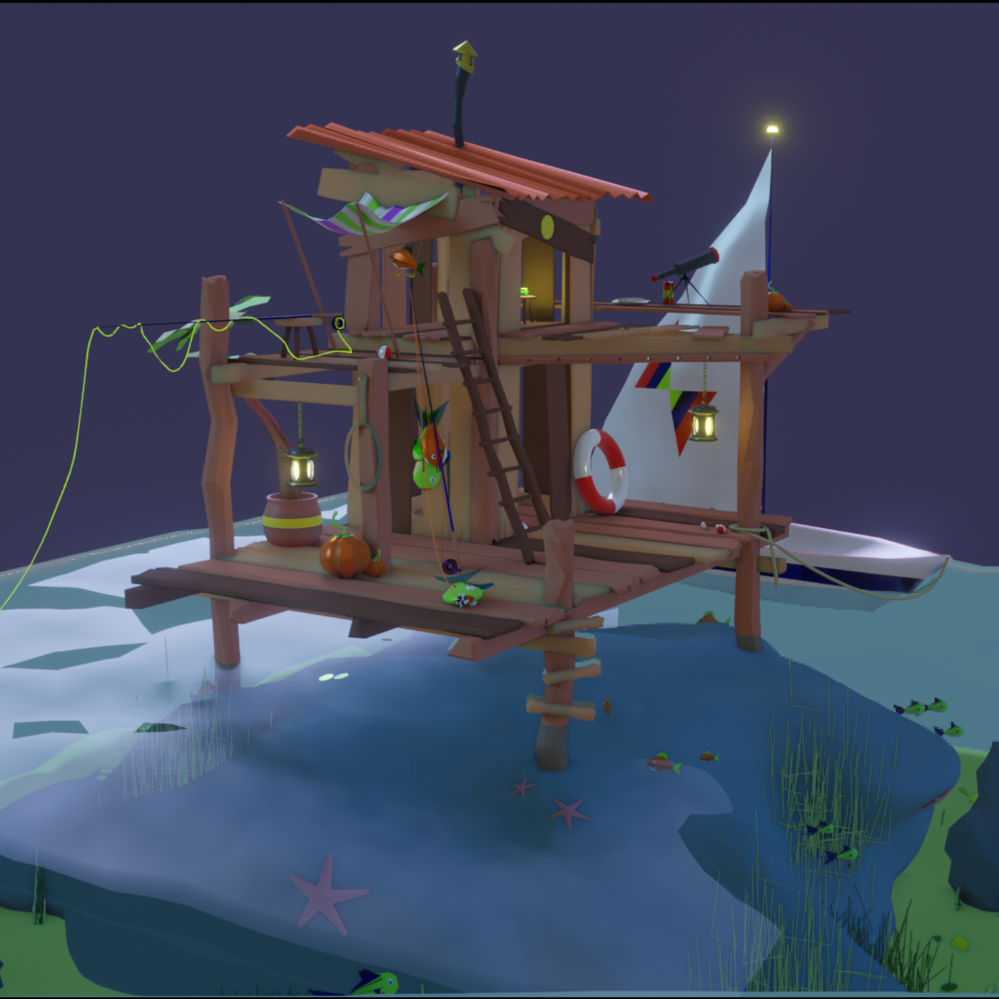 Fishing Shack Scene