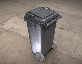 Black Plastic Waste Bin 120 Liters 945x393x480 3D asset