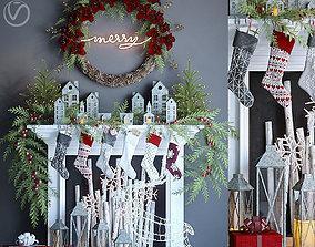 False fireplace with Christmas 3D model