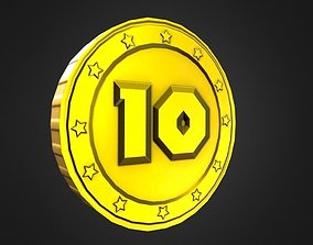 3D model Game-Ready 10 Points Gold Coin Asset