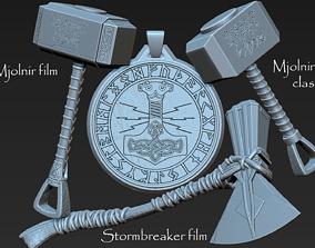 3D printable model Thor Hammer Pack - Mjolnir and 1