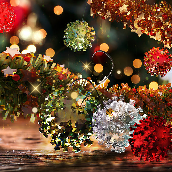 CovidBalls - Christmas Ball with hook set