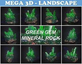 Low Poly Green Gem Mineral Rock 210829 3D model
