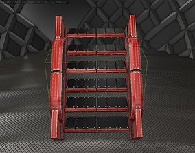 Sci-Fi Stairs - 23 - Red Version 3D model low-poly