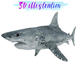 3D asset Low Poly Shark Illustration Animated - Game Ready