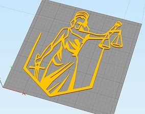 3D printable model Themis Lady of Justice 2D art for wall