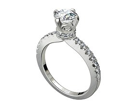 Engagement Ring Solitaire Model Ready For 3D Printing 1