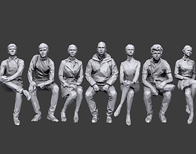 Lowpoly People Sitting Pack Volume 2 3D asset