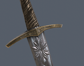 Realistic Low Poly Medieval Sword 3D asset