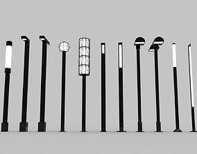 Urban Street Lights - 13 Objects 3D asset