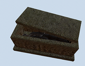 Tombstone with a corpse 3D asset