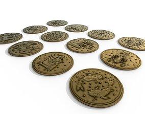 3D PBR 12 Zodiac Coins HP
