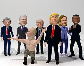 3D model animated Political caricatures pack