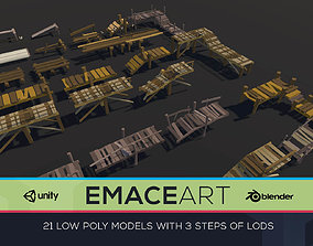 Low Poly Bridges Pack 1-3 LODS Low-poly 3D game-ready